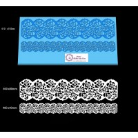 Cake Lace Dual Ribbon Mat For Cake Decoration - Damask Rose Lace Mat